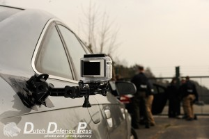 The GoPro HD Hero mounted on the high-speed Audi for the fence sequence
